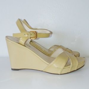 Prada yellow leather strappy wedge sandals